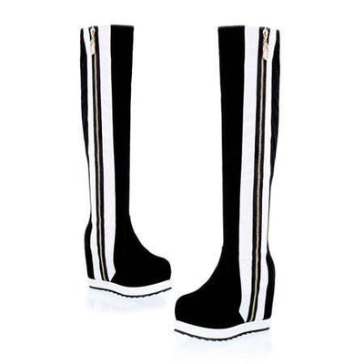 Side Stripe Leather Knee Boots - Belle Valoure - 2