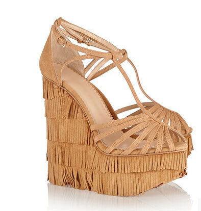 Lora Suede Fringe Wedge Sandals - Belle Valoure - 1