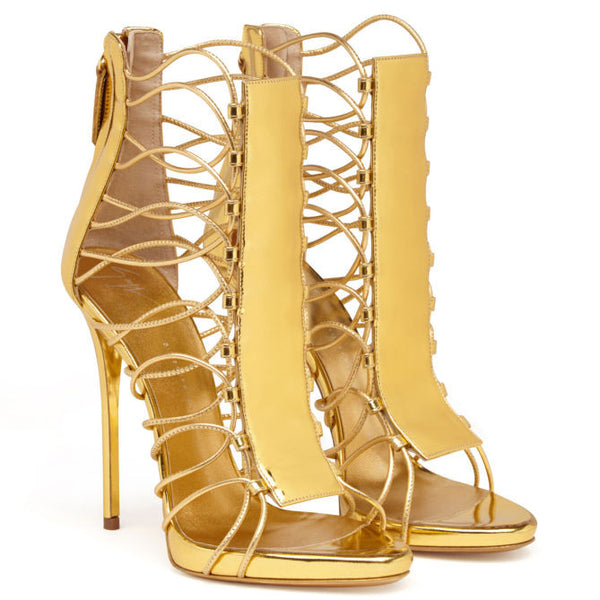 Lora Gold Metallic Leather Sandals - Belle Valoure - 2