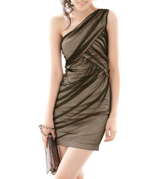 Aline Sheer Layer One Shoulder Dress - Belle Valoure - 3