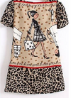 Apricot Leopard Print Chiffon Dress