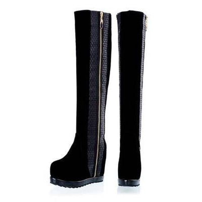 Side Stripe Leather Knee Boots - Belle Valoure - 3