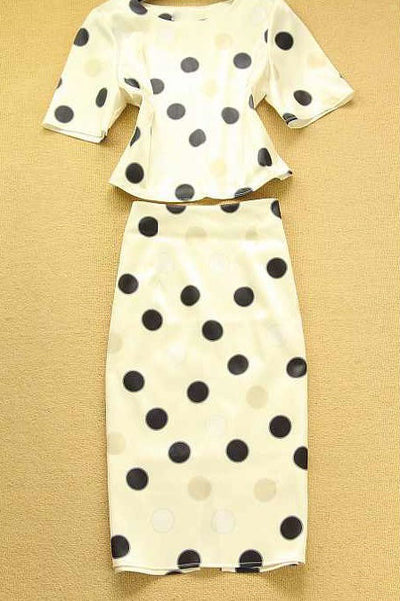 Aine Polka Dot Skirt Suit - Belle Valoure