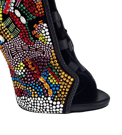 Rhinestone Crystal Lace Boots - Belle Valoure - 4