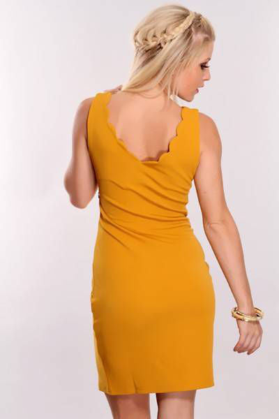 Apricot Beaded Detail Scallop Dress