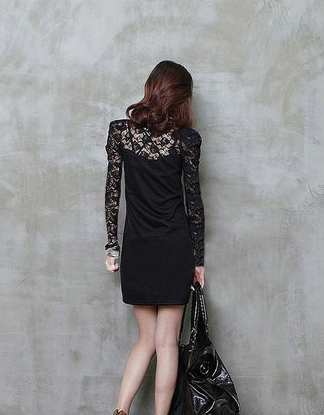 Alondra Sheer Lace Top Dress - Belle Valoure - 4