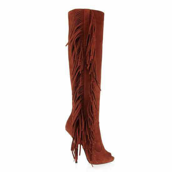 Leather Peep Toe Tassel Boots - Belle Valoure - 5