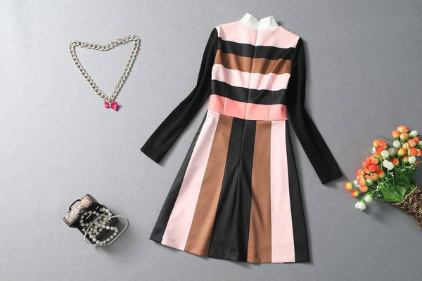 Anevay Striped Long Sleeve Dress