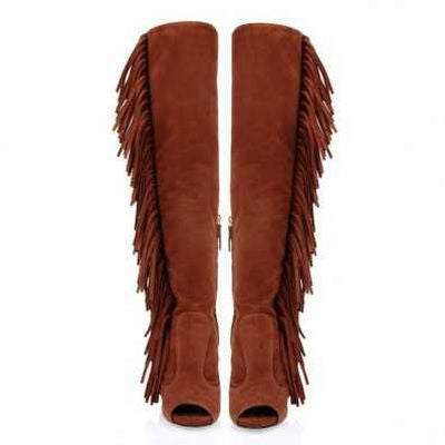Leather Peep Toe Tassel Boots - Belle Valoure - 7