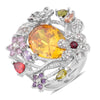 Multi Color Cubic Zirconia White and Purple Austrian Crystal Stainless Steel Ring