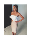 2Pc Strapless Ruffle Off Shoulder Sleeveless Bodycon Dress - Belle Valoure