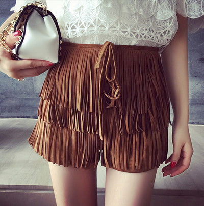 Lila Tassel Suede Fringed Shorts - Belle Valoure - 1