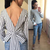 Bowknot Backless Striped Blouse
