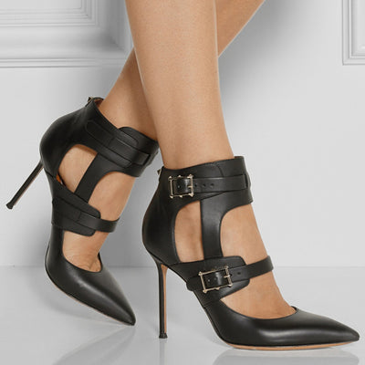 Genuine Leather Cut Out High Heels - Belle Valoure - 5
