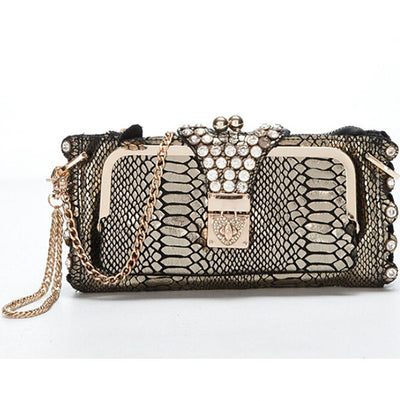 Genuine Leather Crocodile Clutch - Belle Valoure - 1