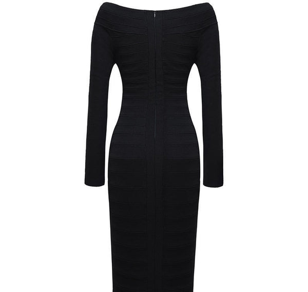 Knee-Length Pencil Long Sleeve Bandage Dress - Belle Valoure - 5