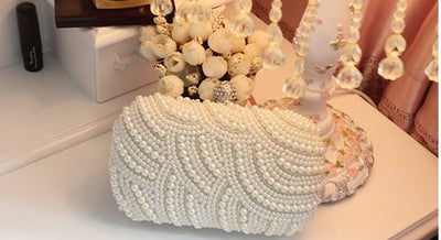 Beaded Pearl Clutch - Belle Valoure