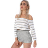 Striped Off Shoulder Knitted Top