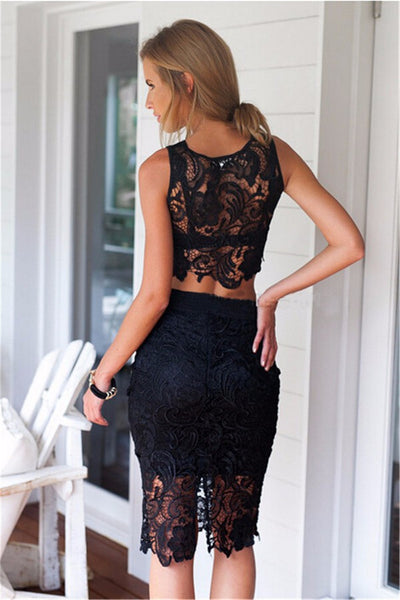 Lace 2 Piece Crochet Dress - Belle Valoure - 3