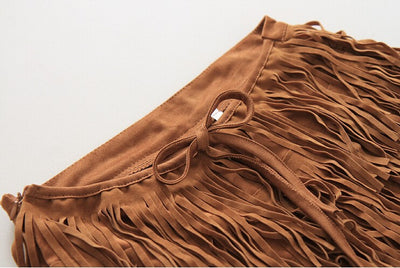 Lila Tassel Suede Fringed Shorts - Belle Valoure - 3