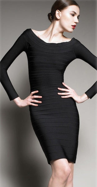 Knee-Length Pencil Long Sleeve Bandage Dress - Belle Valoure - 2
