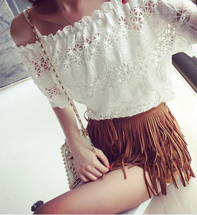 Lila Tassel Suede Fringed Shorts - Belle Valoure - 4