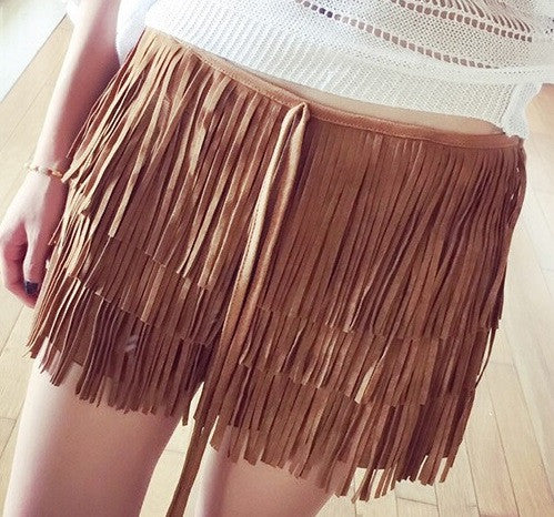 Lila Tassel Suede Fringed Shorts - Belle Valoure - 5