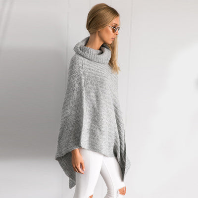 Olive Shawl Collar Cape Sweater - Belle Valoure - 3