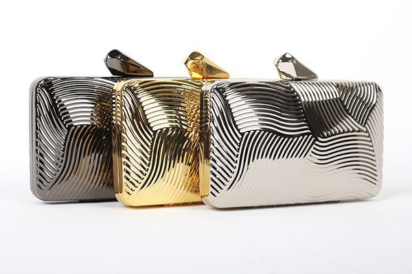 Striped Metal Clutch - Belle Valoure - 1