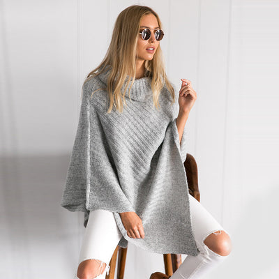 Olive Shawl Collar Cape Sweater - Belle Valoure - 4