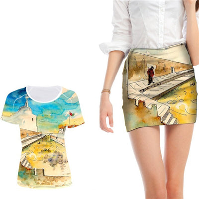 3D Painting Mini Skirt Set