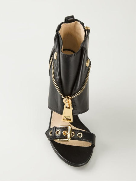 Peep Toe Gold Zipper Sandals - Belle Valoure - 11