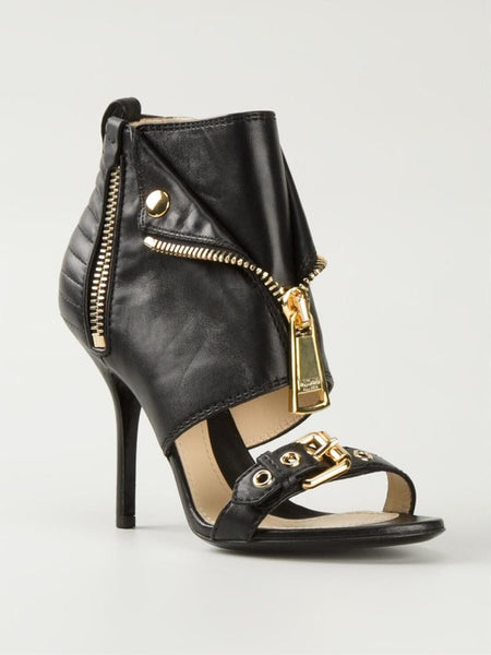 Peep Toe Gold Zipper Sandals - Belle Valoure - 13
