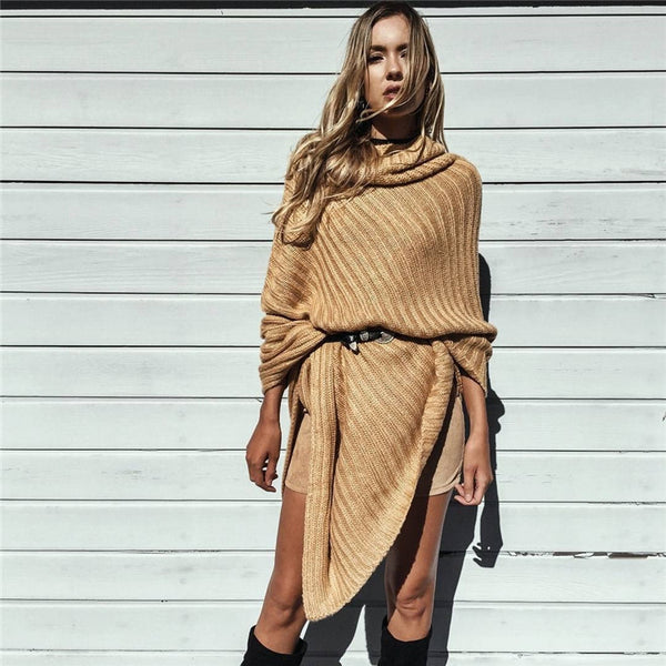 Olive Shawl Collar Cape Sweater - Belle Valoure - 5