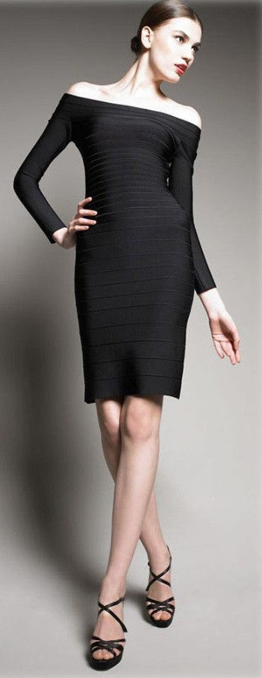 Knee-Length Pencil Long Sleeve Bandage Dress - Belle Valoure - 4