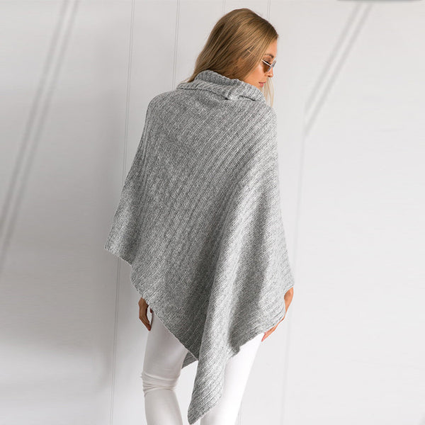 Olive Shawl Collar Cape Sweater - Belle Valoure - 7