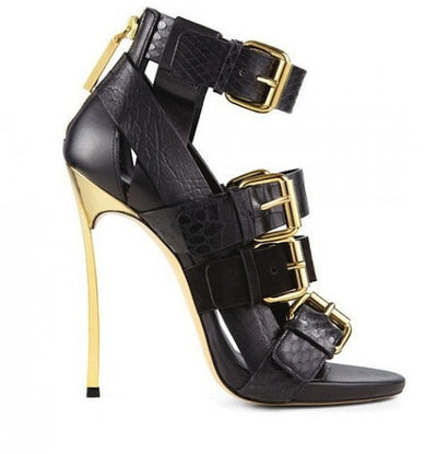 Gold Strap Sandals - Belle Valoure - 2