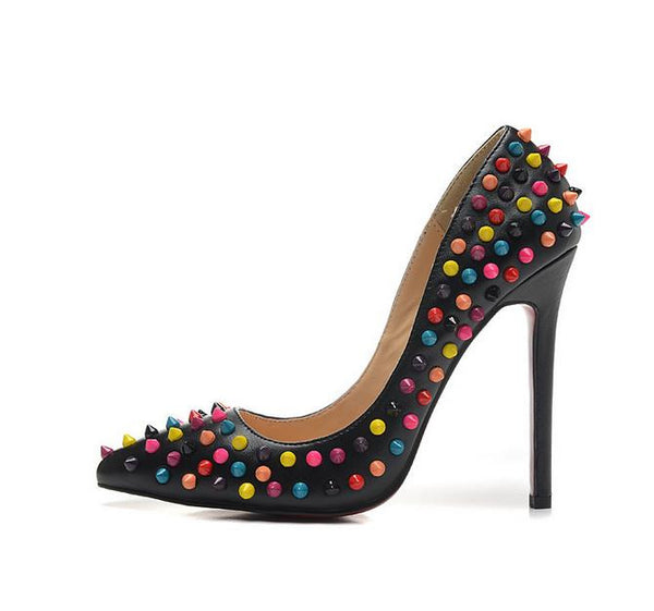 Spike Rivets Patent Leather High Heels - Belle Valoure - 4
