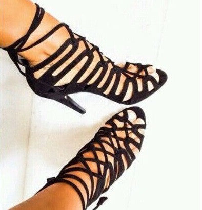 Lace Up Gladiator Sandals - Belle Valoure - 3