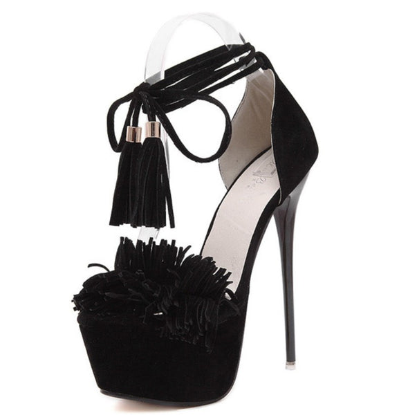 Anaya Peep Toe Tassel Fringe Lace Up Platform Sandals