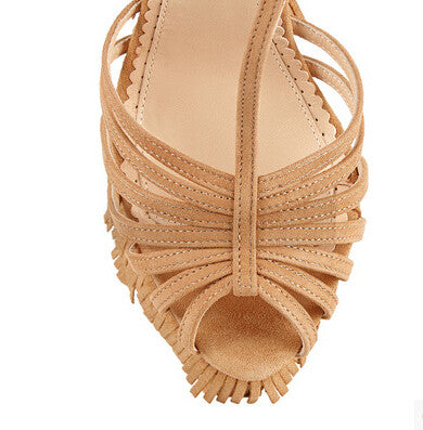 Lora Suede Fringe Wedge Sandals - Belle Valoure - 4