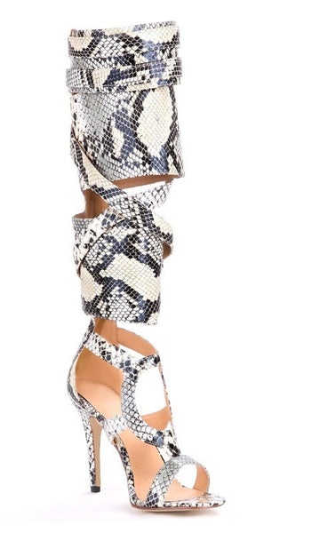 Lora Knee High Python Snakeskin Leather Sandals - Belle Valoure - 1