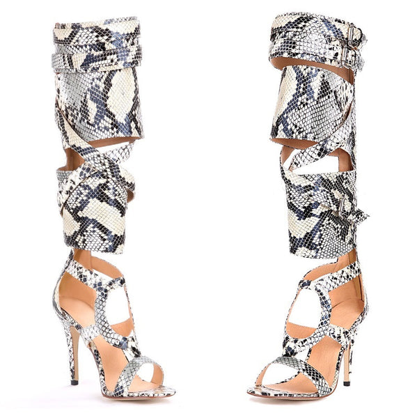 Lora Knee High Python Snakeskin Leather Sandals - Belle Valoure - 2