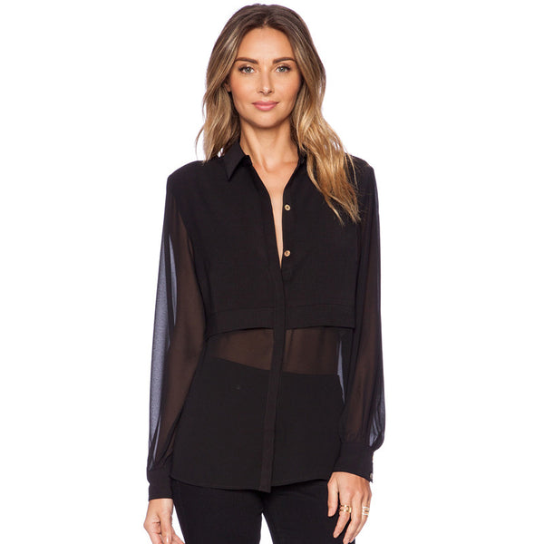 Olivia Chiffon Sheer Blouse - Belle Valoure - 2