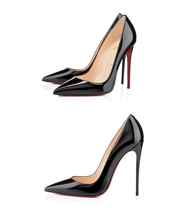 Genuine Leather Pointed Toe Patent Leather Pumps - Belle Valoure - 2