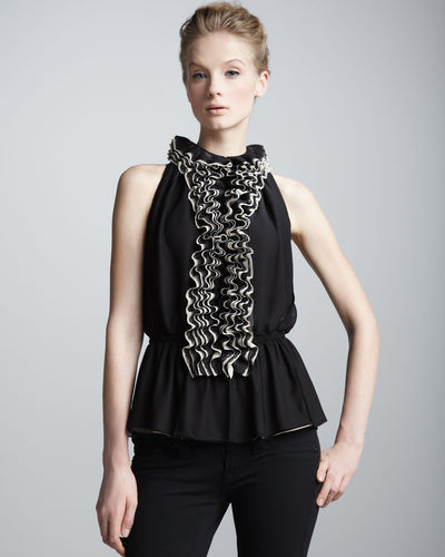 Robert Rodriguez Ruffled Sleeveless Top - Belle Valoure - 1