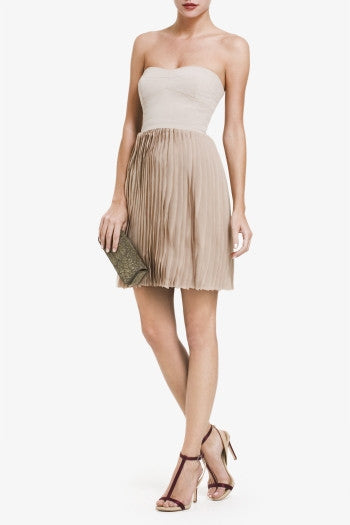 BCBGMAXAZRIA Angel Strapless Pleated Skirt Dress - Belle Valoure