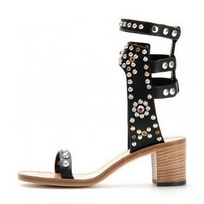 Studded Ankle Sandals - Belle Valoure - 5