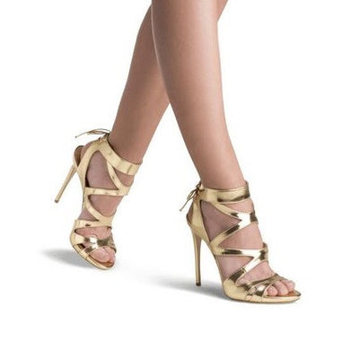 Tamaran Gold Leather Sandals - Belle Valoure - 1