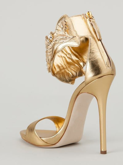 Golden Peep Toe Sandals - Belle Valoure - 2